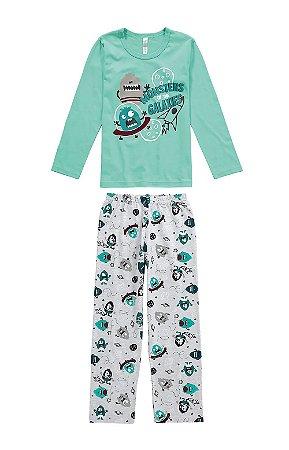 Pijama infantil longo em algodão