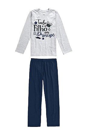 Pijama infantil manga longa em algodão