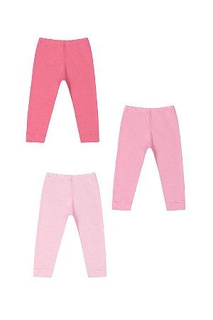 Kit calça (culote) 3 unidades sem pé liso em suedine