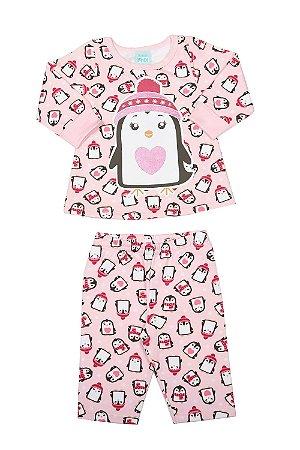 Pijama moletom estampa pinguim brilha no escuro