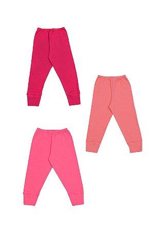 Kit calça (culote) 3 peças com pé reversível liso em suedine