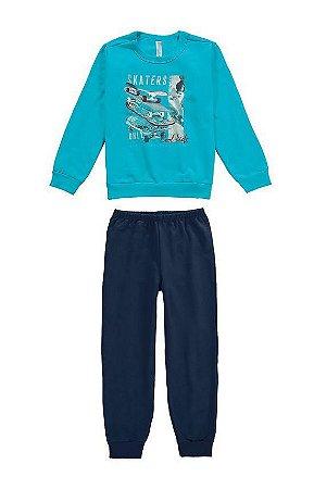 Pijama infantil manga longa em moletom malwee