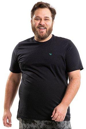 Camiseta manga curta com detalhe bordado plus size