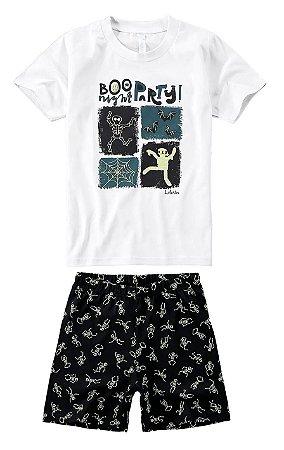 Pijama infantil manga curta com shorts estampa brilha no escuro