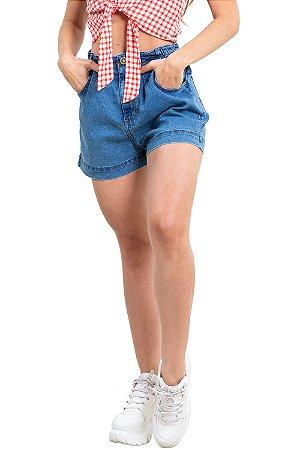 Shorts jeans hot pants com elástico
