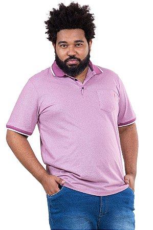 Camisa polo maga curta com bolso piquet plus size