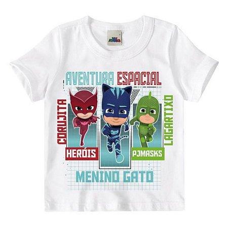 Camiseta manga curta infantil pj masks