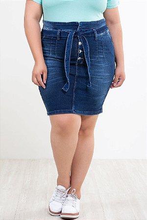 Saia Jeans clochard plus size