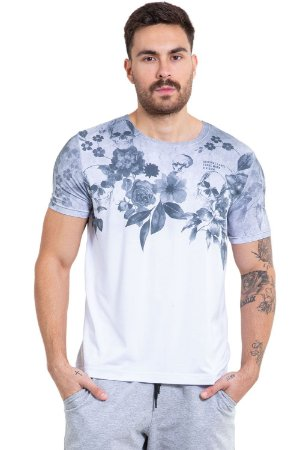 Camiseta manga curta corte a laser floral