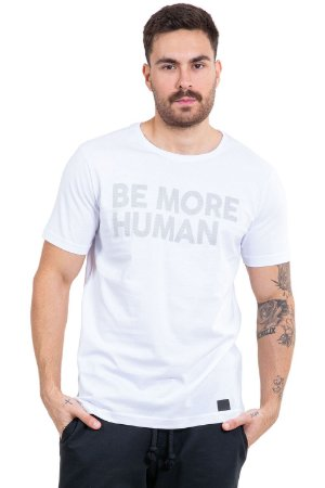 Camiseta manga curta estampa be more human