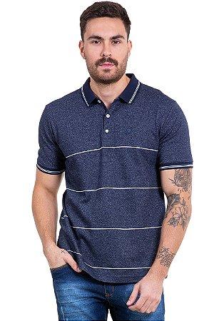 Camisa polo manga curta com listras e botões