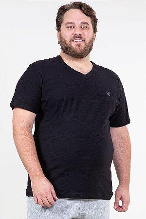 Camiseta manga curta flamê gola em v básica plus size
