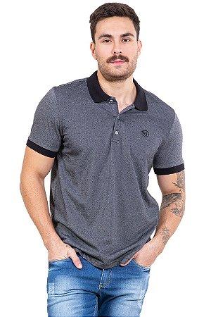 Camisa polo manga curta com botões