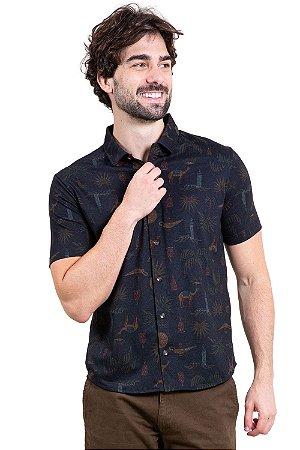 Camisa manga curta aberta com botões estampa coqueiro