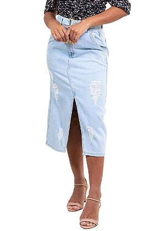 Saia jeans midi  com cinto detalhe destroyed