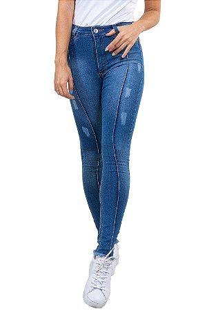 Calça Jeans skinny c/ barra desfiada