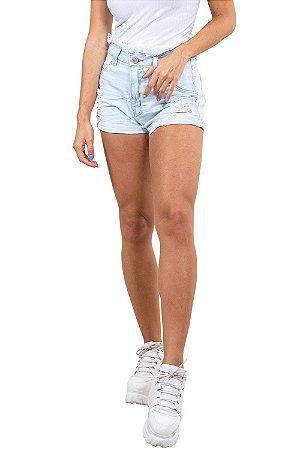 Shorts jeans curto destroyd cós e barra desfiado