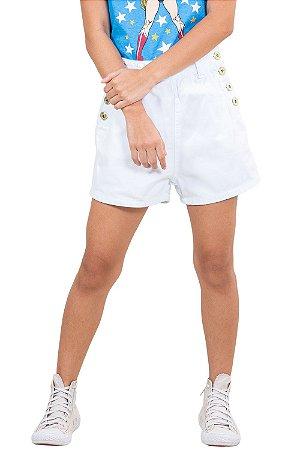Shorts juvenil hot pants  c/ bolsos em sarja