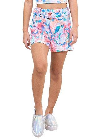 Shorts juvenil cós elástico c/ cinto tie dye