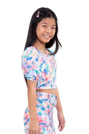 Blusa juvenil cropped ombro a ombro