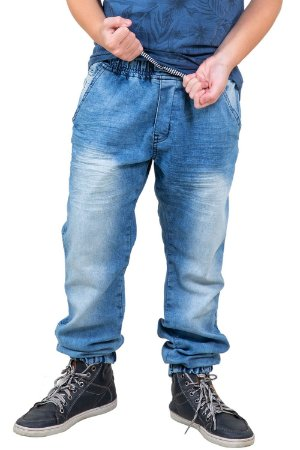 Calça juvenil jeans jogger cós elástico