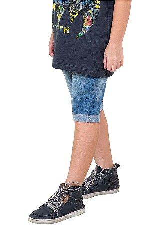 Bermuda juvenil jeans cós c/ regulagem barra virada