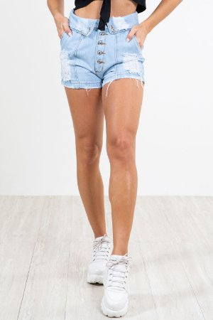 Shorts jeans cós duplo destroyed