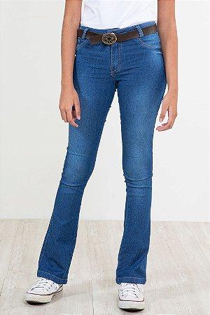 Calça jeans juvenil flare com cinto