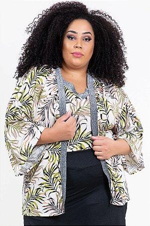 Kimono curto detalhe fio metalizado plus size