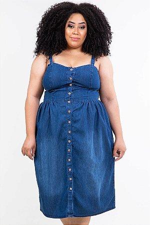 Vestido jeans médio plus size