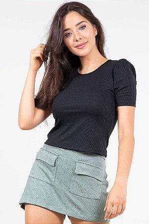 Blusa manga curta canelada