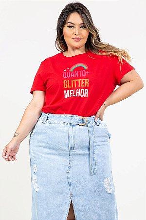 T-shirt plus size quanto mais glitter melhor