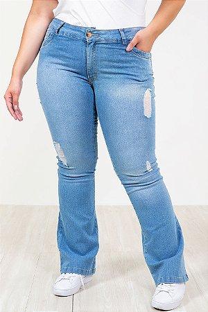 Calça jeans flare destroyed plus size