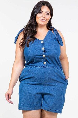 Macaquinho jeans alça amarração plus size