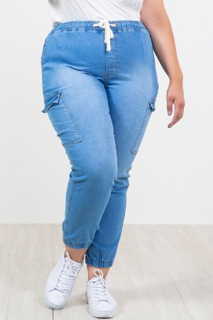 Calça jeans jogger cós elástico plus size