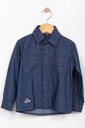 Camisa jeans infantil manga longa com bolso