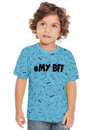 Camiseta infantil manga curta estampada com bandana Fakini