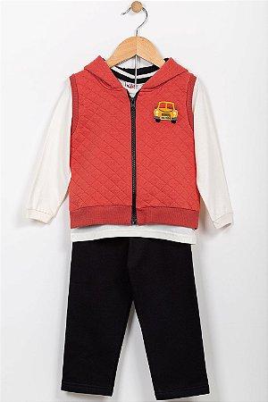 Conjunto infantil camiseta manga longa colete e calça