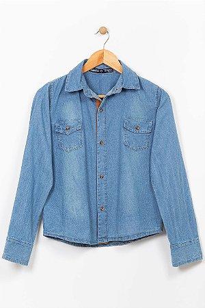 Camisa jeans juvenil manga longa