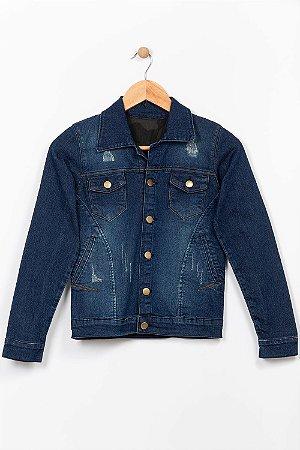 Jaqueta jeans juvenil com desgaste