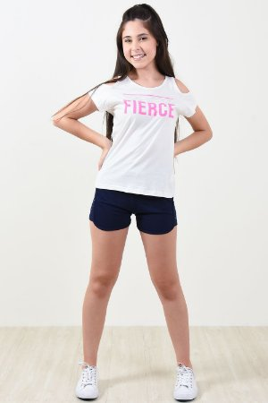 Conjunto juvenil blusa e shorts