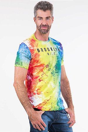 Camiseta manga curta estampa tie dye