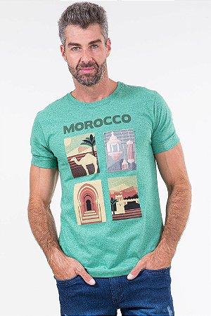 Camiseta manga curta estampa morocco