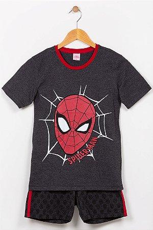 Pijama juvenil camiseta e bermuda spider man