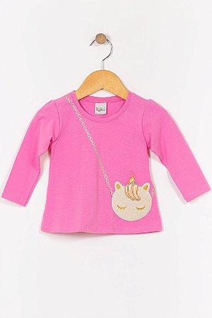 Blusa infantil manga longa com aplique kika