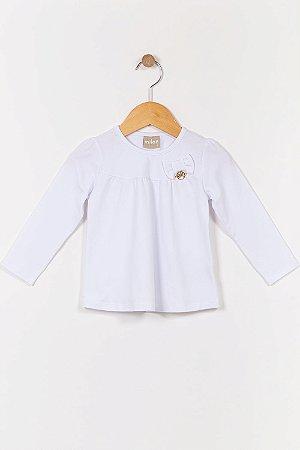 Blusa infantil manga longa lisa milon