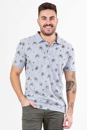 Camisa polo estampa coqueiro