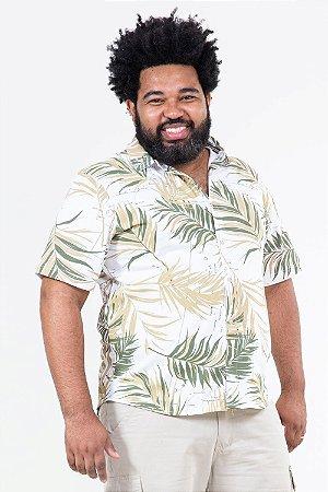 Camisa polo folhagem plus size