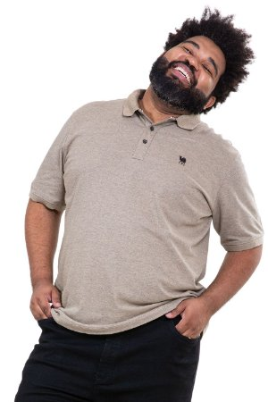Camisa polo maga curta piquet plus size