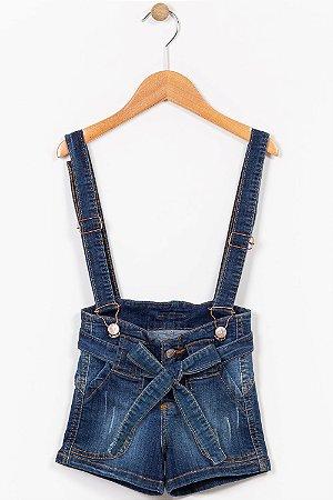Jardineira jeans infantil curta com cinto